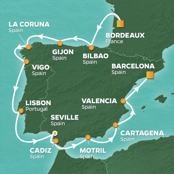Azamara Cruises | 13-Nights from Bordeaux to Barcelona Cruise Iinerary Map