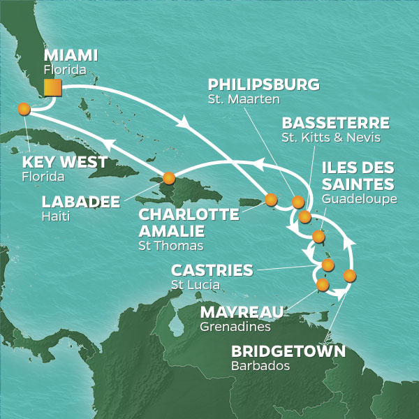 Azamara Cruises | 15-Nights Roundtrip from Miami Cruise Iinerary Map