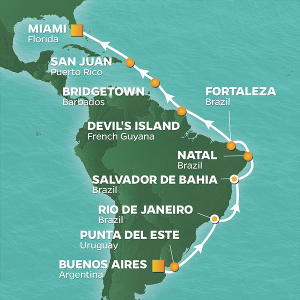 Azamara Cruises | 22-Nights from Buenos Aires to Miami Cruise Iinerary Map