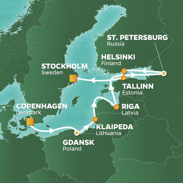 Azamara Cruises | 11-Nights from Copenhagen to Stockholm Cruise Iinerary Map