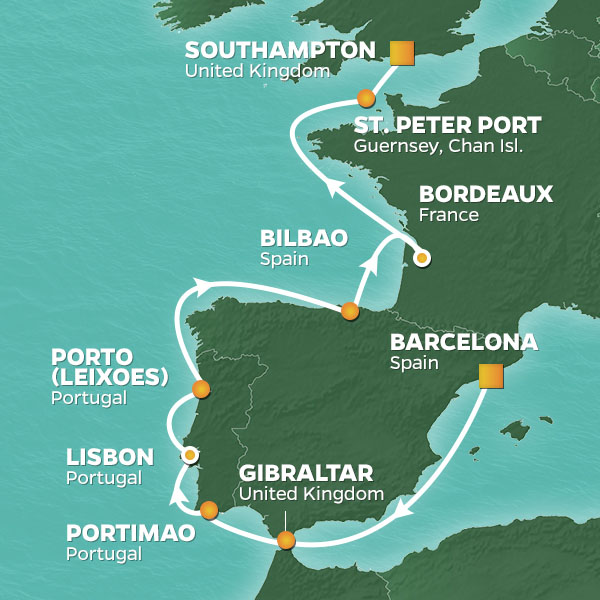 Azamara Cruises | 13-Nights from Barcelona to Southampton Cruise Iinerary Map