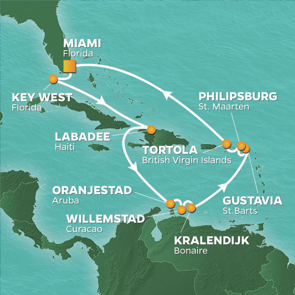 Azamara Cruises | 14-Nights Roundtrip from Miami Cruise Iinerary Map
