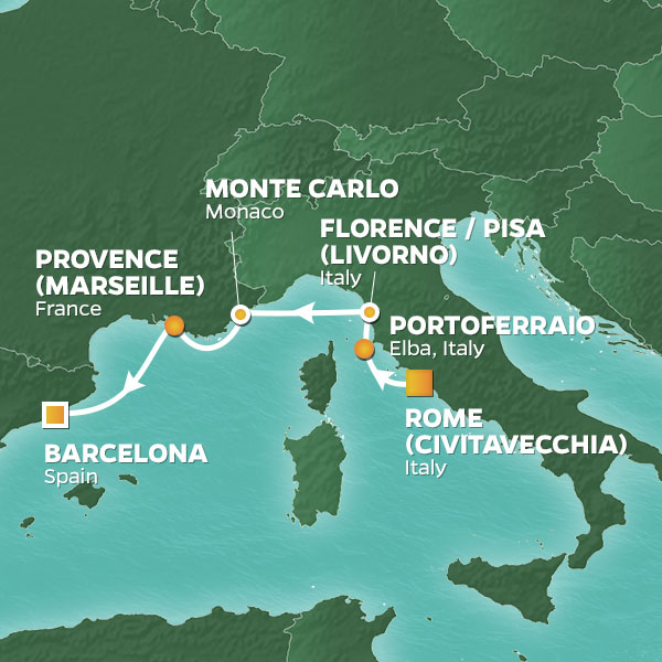 Map Of Italy And Spain With Cities.8 Night Med Cities Voyage 3 Night Post Barcelona Stay 27 Oct 20