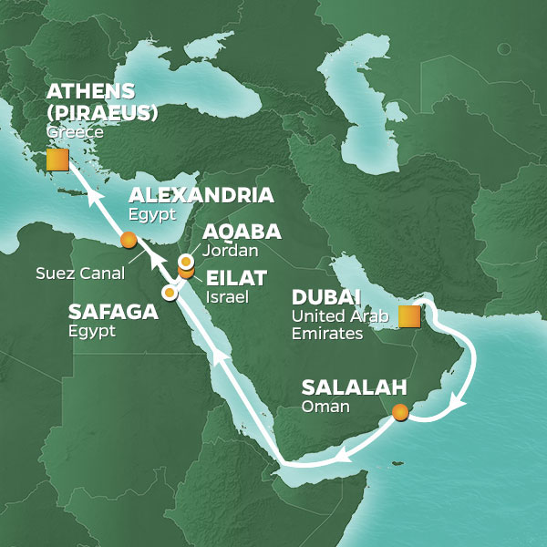 Azamara Cruises | 17-Nights from Dubai to Athens Cruise Iinerary Map