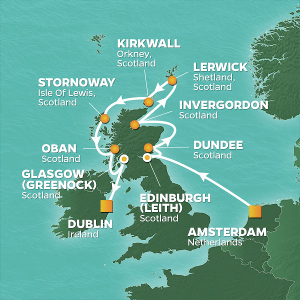 Azamara Cruises | 12-Nights from Amsterdam to Dublin Cruise Iinerary Map