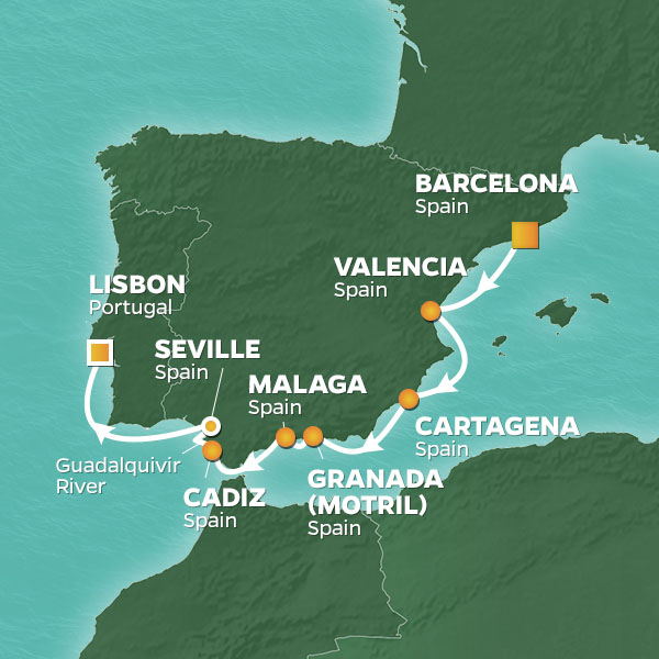 Barcelona to Lisbin map