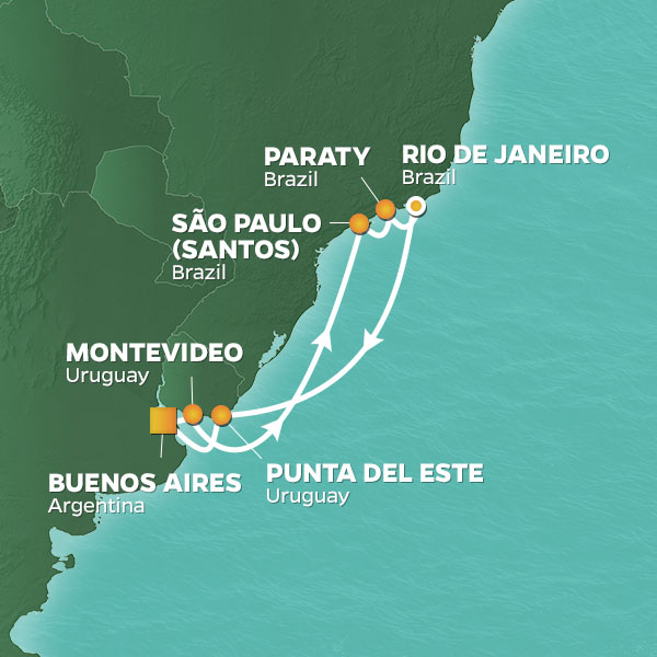 Rio intensive cruise, round trip from Buenos Aires
