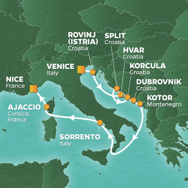 Azamara Cruises | 10-Nights from Venice to Nice Cruise Iinerary Map
