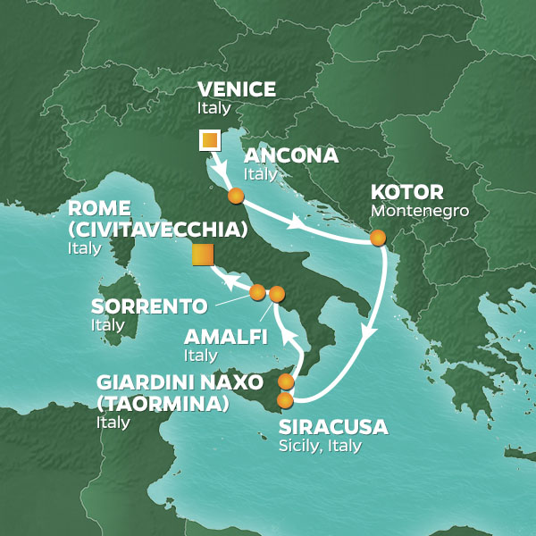 venice to rome map