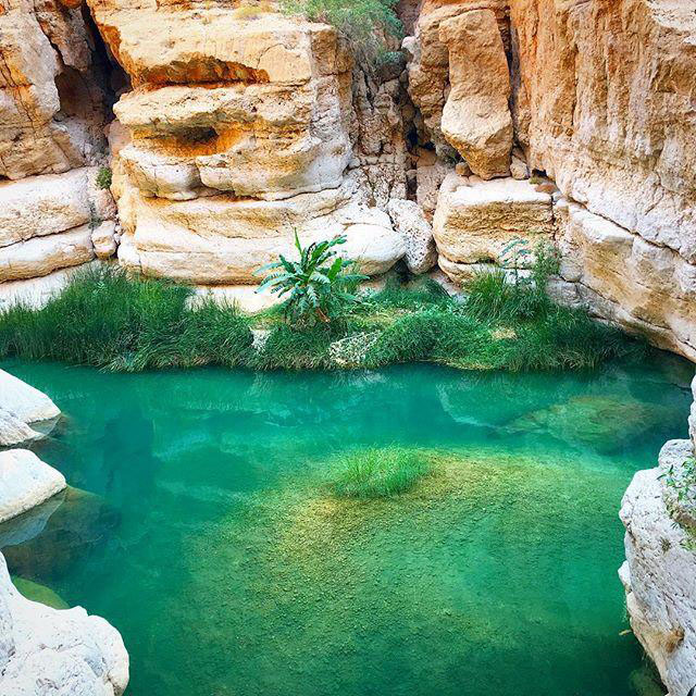 A cave inside the Wadi Shab in Muscat Oman