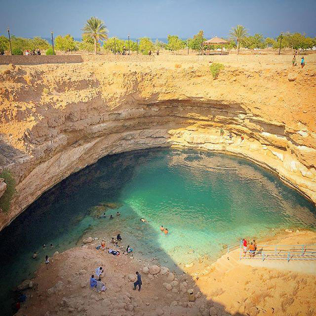 A pool of water for swimming inside the Wadi Shab in Muscat Oman