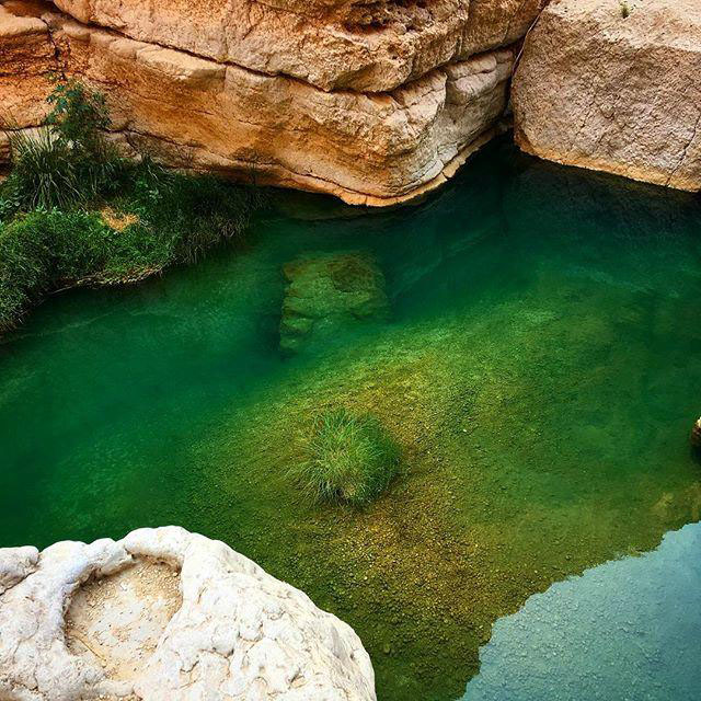 Green water inside the Wadi Shab in Muscat Oman